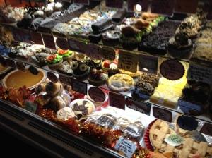 The dessert case at Fedora Cafe in Lawrenceville, NJ