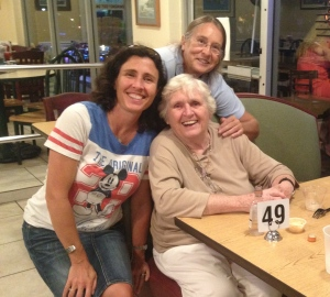 Celebrating my mom's 84th birthday with my sister in Florida, September 2013.