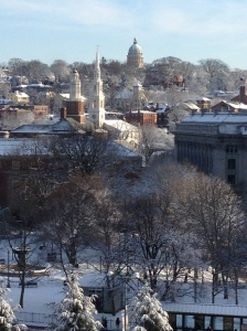 Brown University, from downtown Providence. Site of two workshops on February 25, 2014.