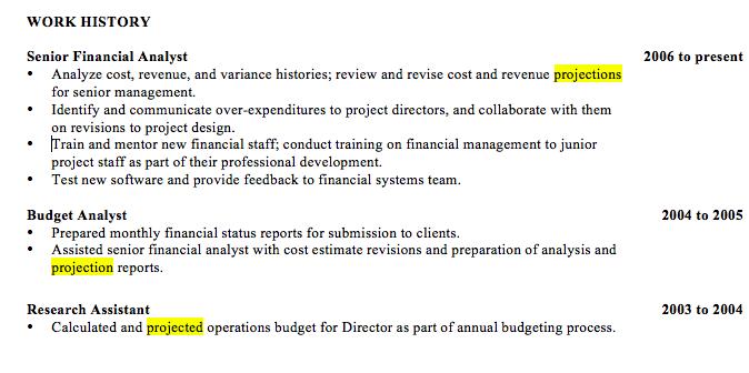 2014 resume key words